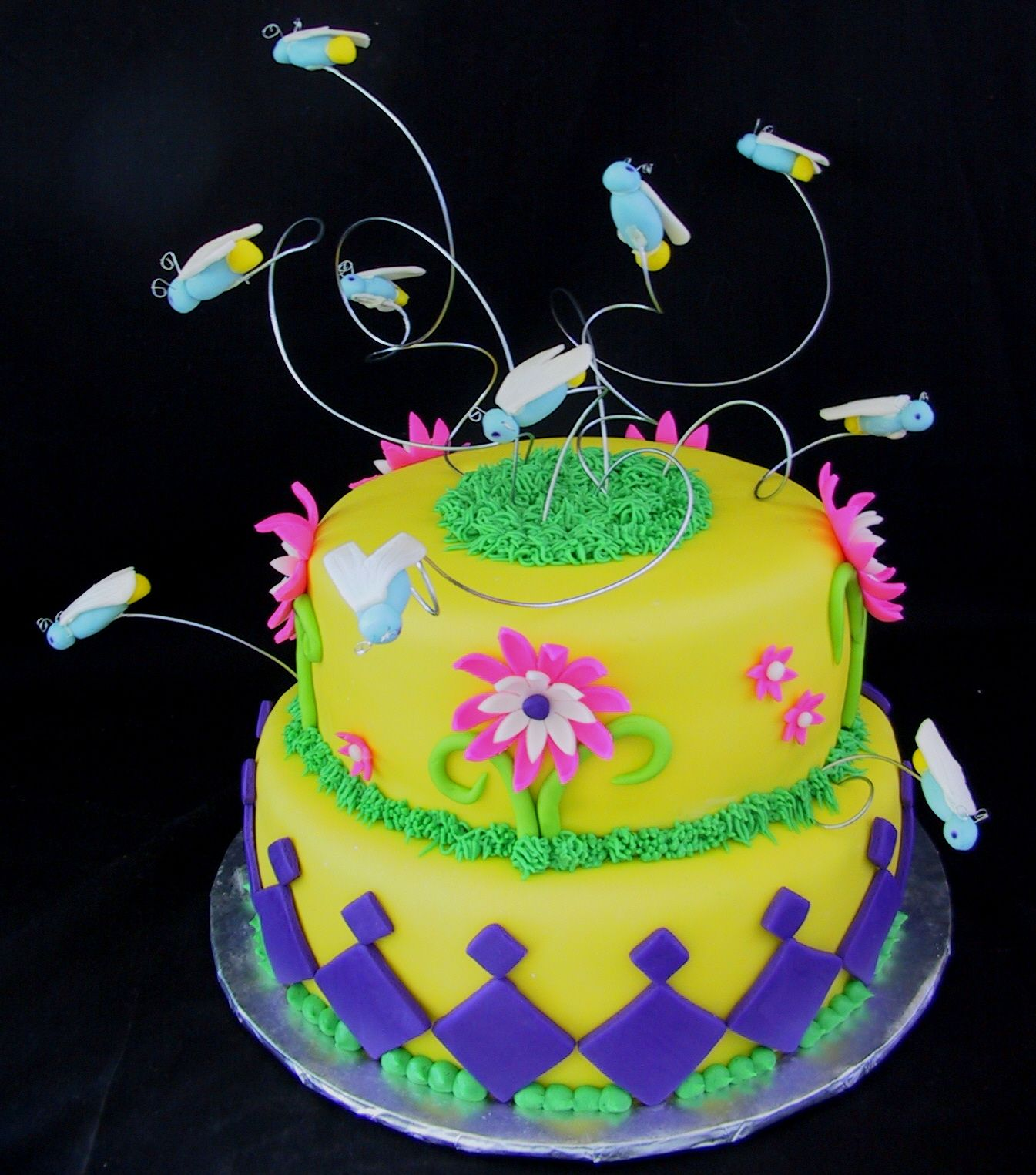 Fondant Firefly and Flower Birthday Cake