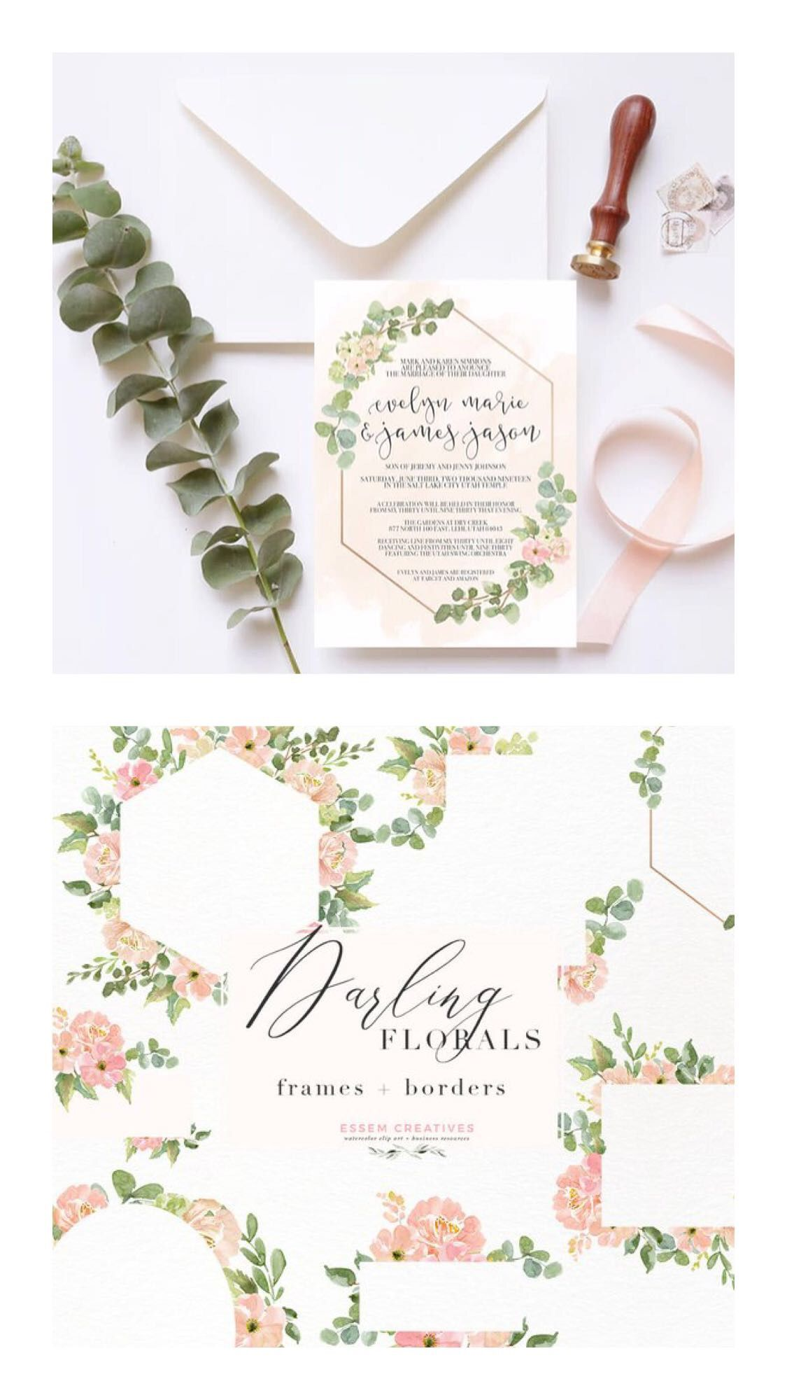 Watercolor Flower Border Clipart Romantic Blush Peony Floral