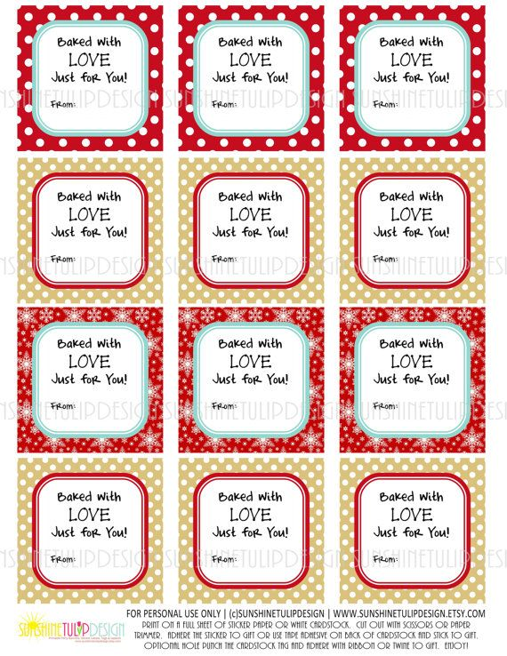 Tags for baked good gifts for christmas