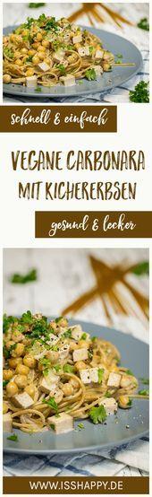 Vegane Carbonara mit Kichererbsen - lecker, cremig & gesund  Einfaches Rezept für vegane Carbonara mit Kichererbsen. 100% pflanzlich, gesund und tierleidfrei. Mit nur wenigen simplen Zutaten ganz einfach zubereitet.  #vegan #veganerezepte #veganesmittagessen     This image has get 1 repins.    Author: Naschen mit der Erdbeerqueen #Carbonara #cremig #gesund #Kichererbsen #LECKER #mit #Vegane #schnellerezeptemittagessen