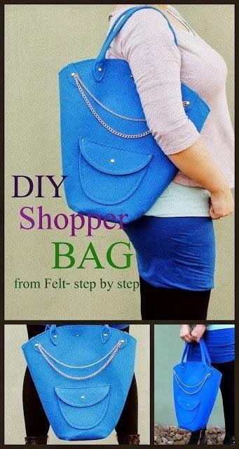 SHOPPER BAG WITH FILCU- DIY, STEP BY STEP, how to sew SUCH BAG #diy #handbag #blog #felt #sewing