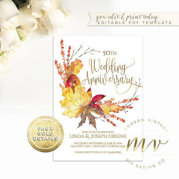 Wedding Anniversary Invitation template 5x7 gold editable Modern