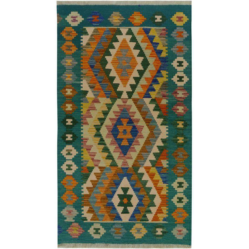 Contemporary Kilim Arya Isaiah Blue/Ivory Wool Rug - 2'6 X ...