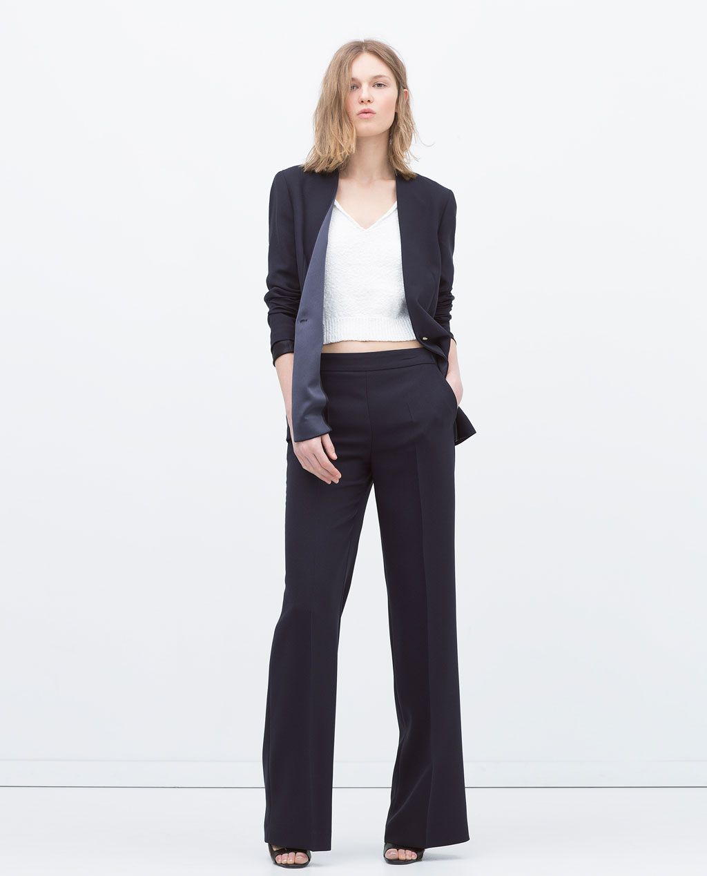 Image 2 of CREPE DRAPEY WIDE TROUSERS from