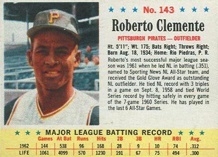 1963 Post Cereal Roberto Clemente 143 Baseball Card Value Price Guide Baseball Card Values Roberto Clemente Baseball Cards