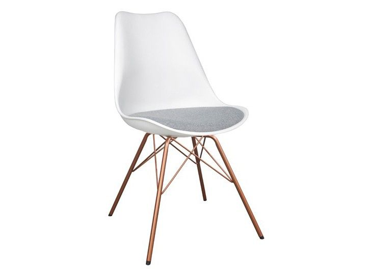 BASIL Stuhl Esszimmer Wartezimmer Weiß Grau & Kupfer