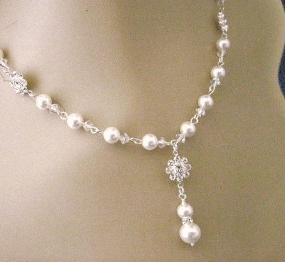 Wedding Jewelry Fallon Crystal Flower and Pearl by AnnsCrafts, $35.00