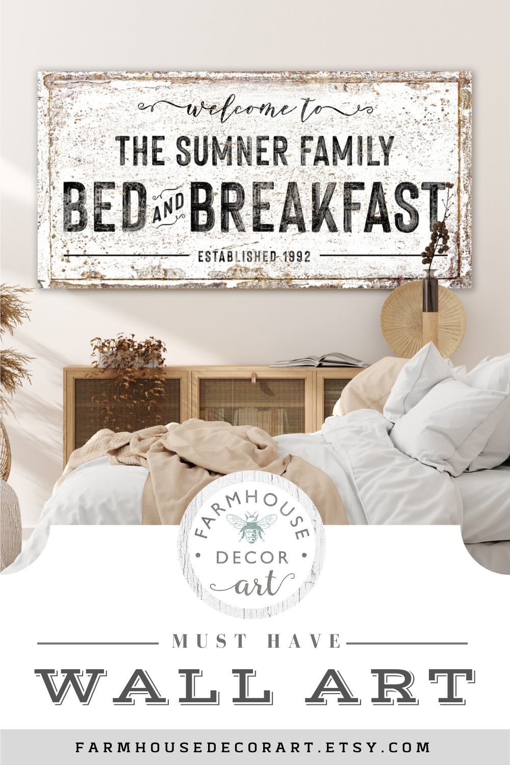 Custom Bed Breakfast Family Name Sign Vintage Wall Art Large Rustic Canvas Print Modern Farmhouse Wall Decor Bedroom Last Name Sign In 2020 Wall Decor Bedroom Farmhouse Wall Decor Country