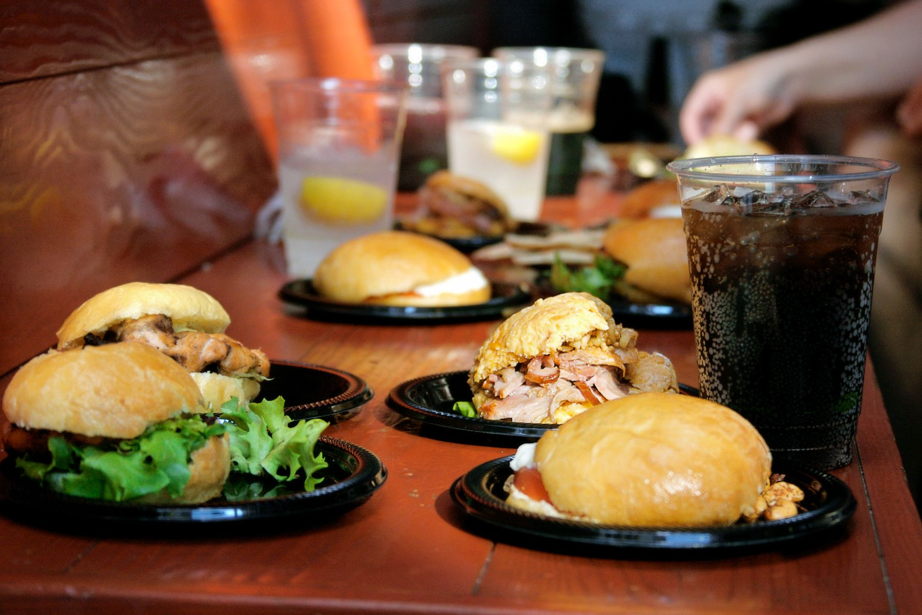 mini sandwiches on brioche rolls