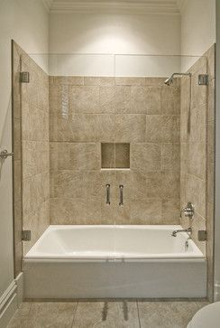 Tub shower combo design ideas pictures remodel and for How big is a standard tub