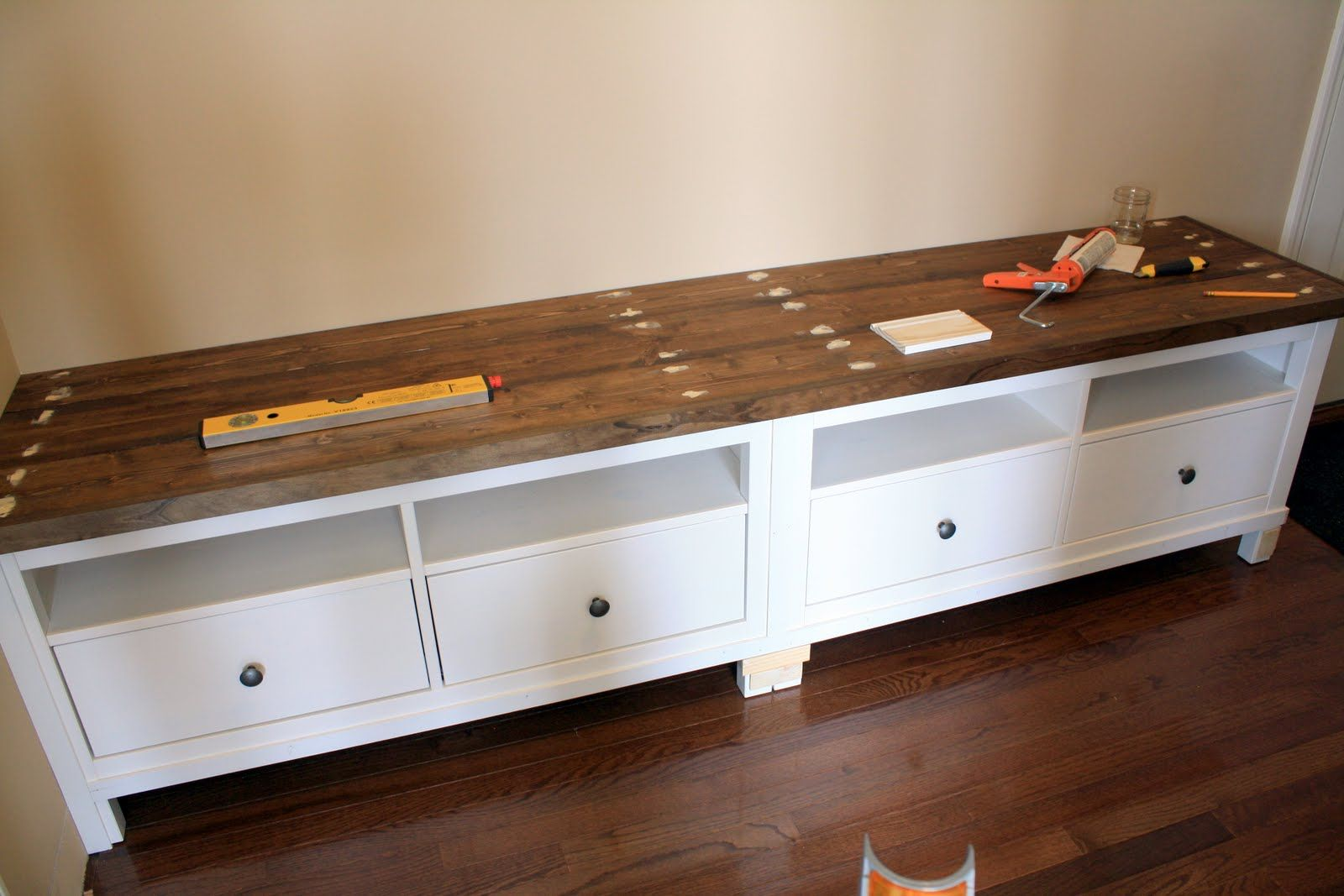 ikea cabinets turned into bench thinking window bench. Black Bedroom Furniture Sets. Home Design Ideas