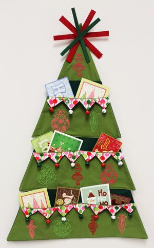 Free Project Instructions To Make An Embroidered Christmas Tree Card Holder Christmas Tree Card Holder Christmas Card Holder Diy Hanger Christmas Tree