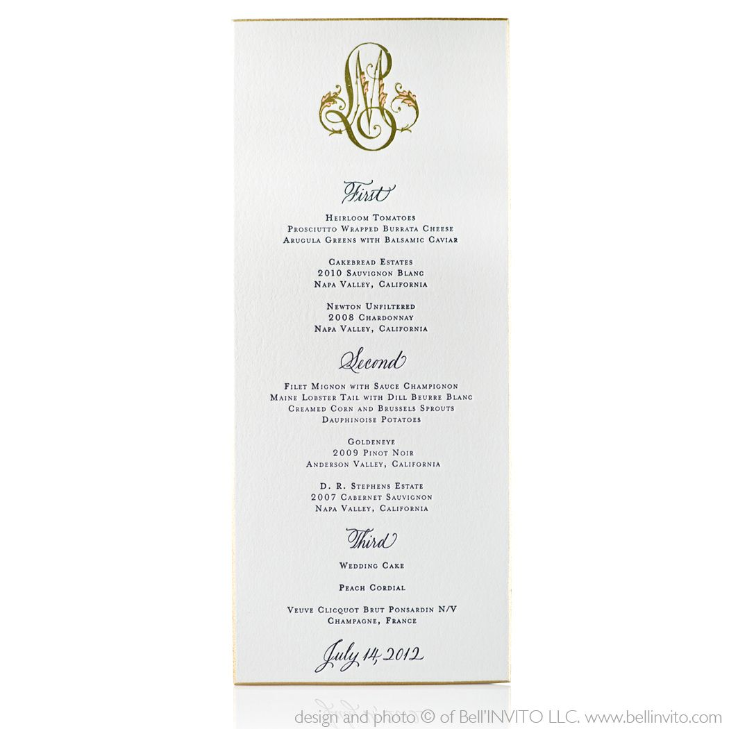 Wedding Menu Minimalist Design  On Wedding Ceremony Design Ideas