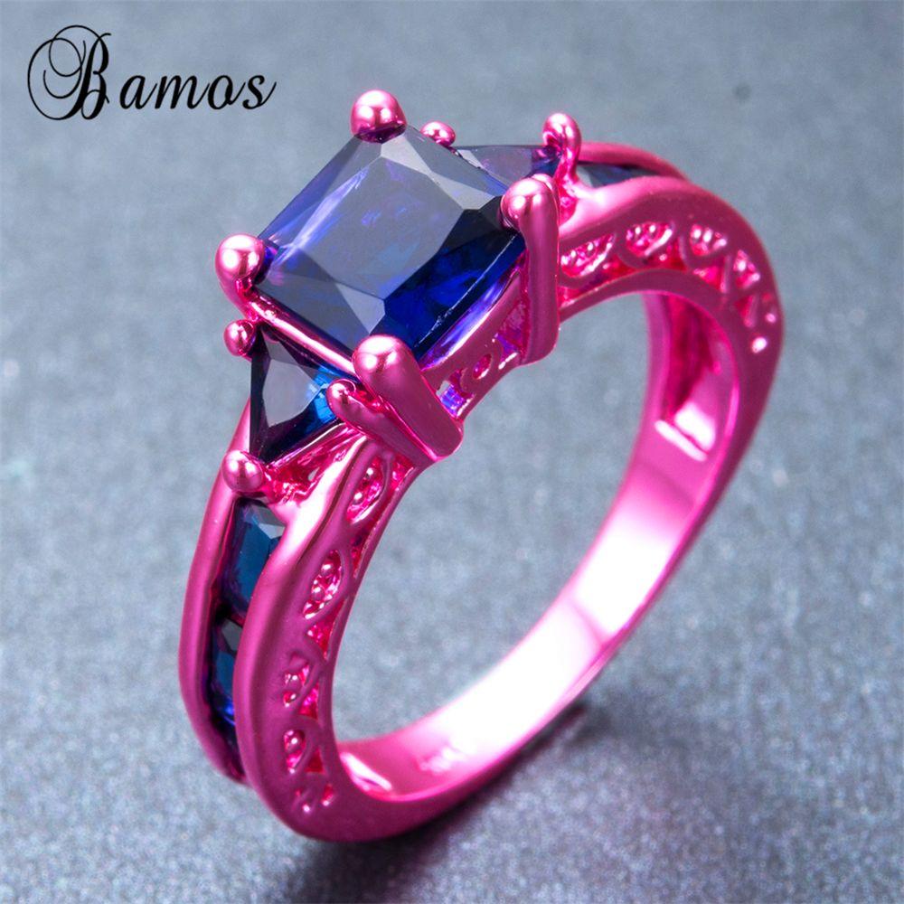 Bamos Bohemian Female Blue Geometric Ring Fashion Pink Gold Filled ...