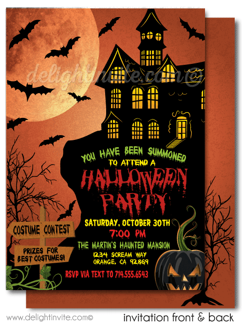 Haunted House Adult Halloween Invitations Scary Party Invites Printed