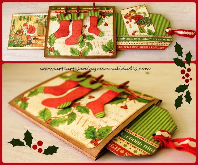 Tarjeta deslizante scrapbooking navidad tarjetas de - Ideas decoracion navidad manualidades ...