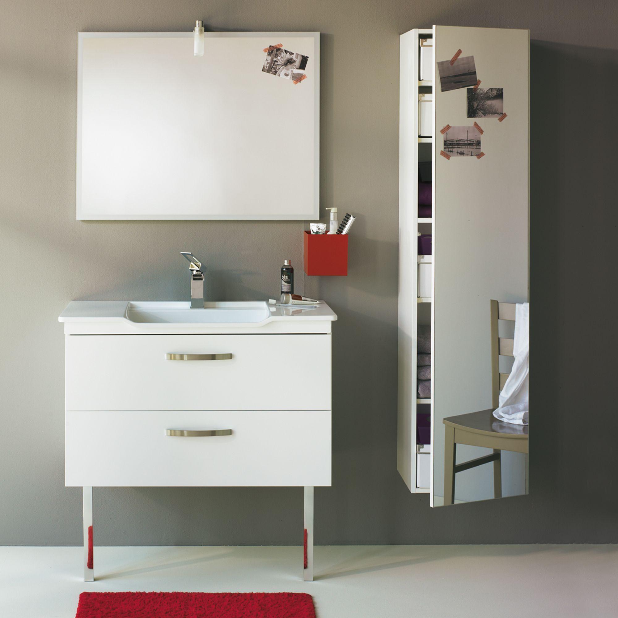 Meuble de salle de bains avec vasque en c ramique et miroir 90cm blanc luxy alin a dispo - Alinea meuble de salle de bain ...