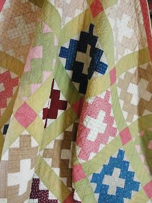 Antique 19th c. ALBUM or Courthouse Square QUILT ~ Great Condition Farmhouse