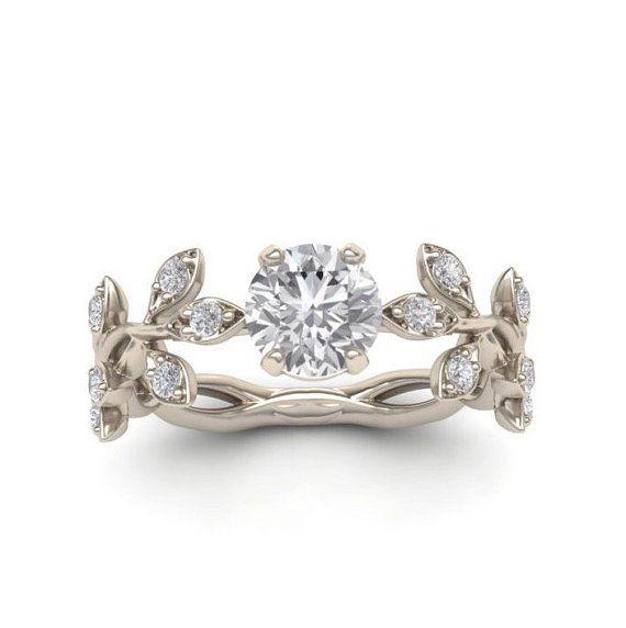 Engagement ring, Leaf Engagement ring,White Gold 14k,White ...