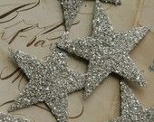 PICK YOUR COLOR Large Glass Glitter Stars 8 count