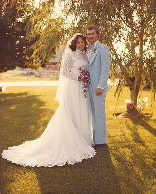 Of course, a powder blue tux is a staple of any 1970s wedding