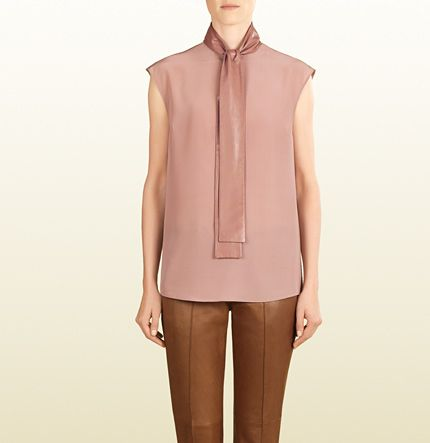 Gucci - silk top with leather ascot tie