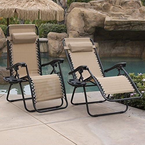 Belleze 2 Pack Zero Gravity Chairs Patio Lounge Cup Holder Utility Tray Tan