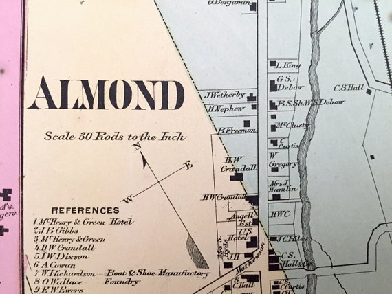 Antique 1869 Almond & Alfred Center, New York Map from D.G. ... on map of alfred maine, map of new yorl, map of luling texas,