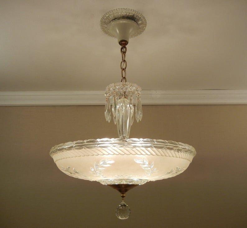 Vintage Chandelier 1930 S Ceiling Light Laurel Leaf Butter Cream Glass Shade Solid Brass Fixture Restored Large 16 5 In 2020 Vintage Chandelier Ceiling Lights Chandelier