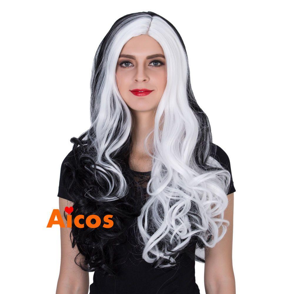 Fashion Style Heat Resistant Wig Black White Hollowen Wavy
