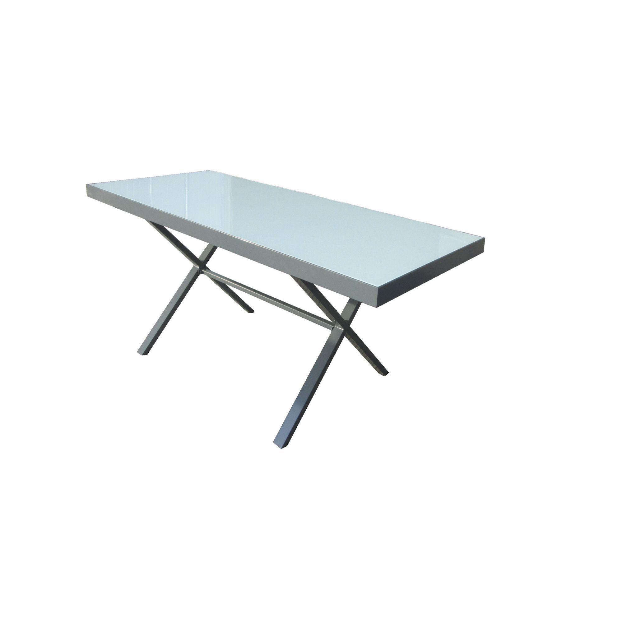 Table de jardin pieds croisés en aluminium et verre Noir/Blanc ...
