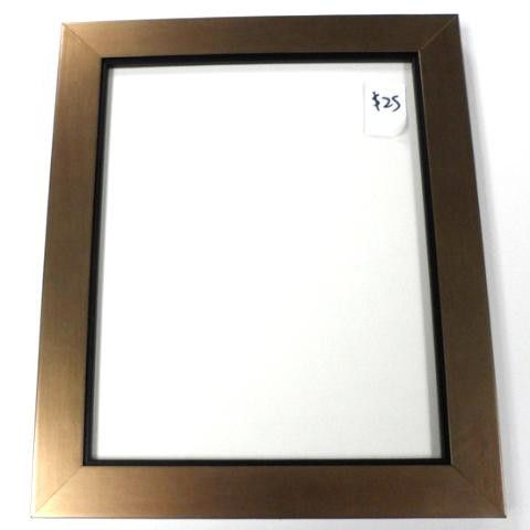 """Contempary Bronze with Black Accent 1.25""""wide Wood Frame for 8"""" x 10"""" photo includes glass, matting and backing. $25"""