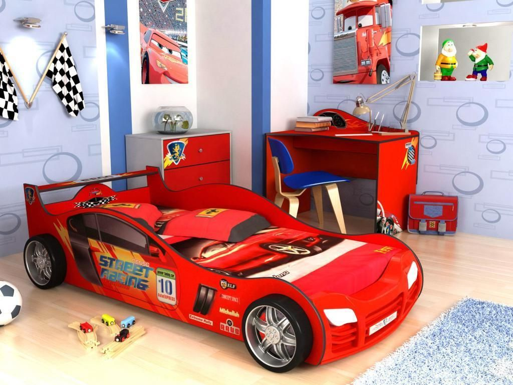 Elegance Kids Room Ideas With Red Car Bed As Well Circle Pattern Wallpaper  Also Wooden Floor