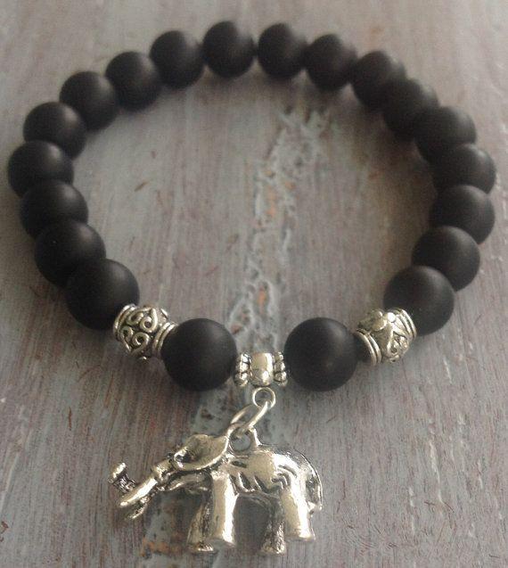 Elephant Bracelet Boho Beaded Bracelet Black Onyx by indietiez