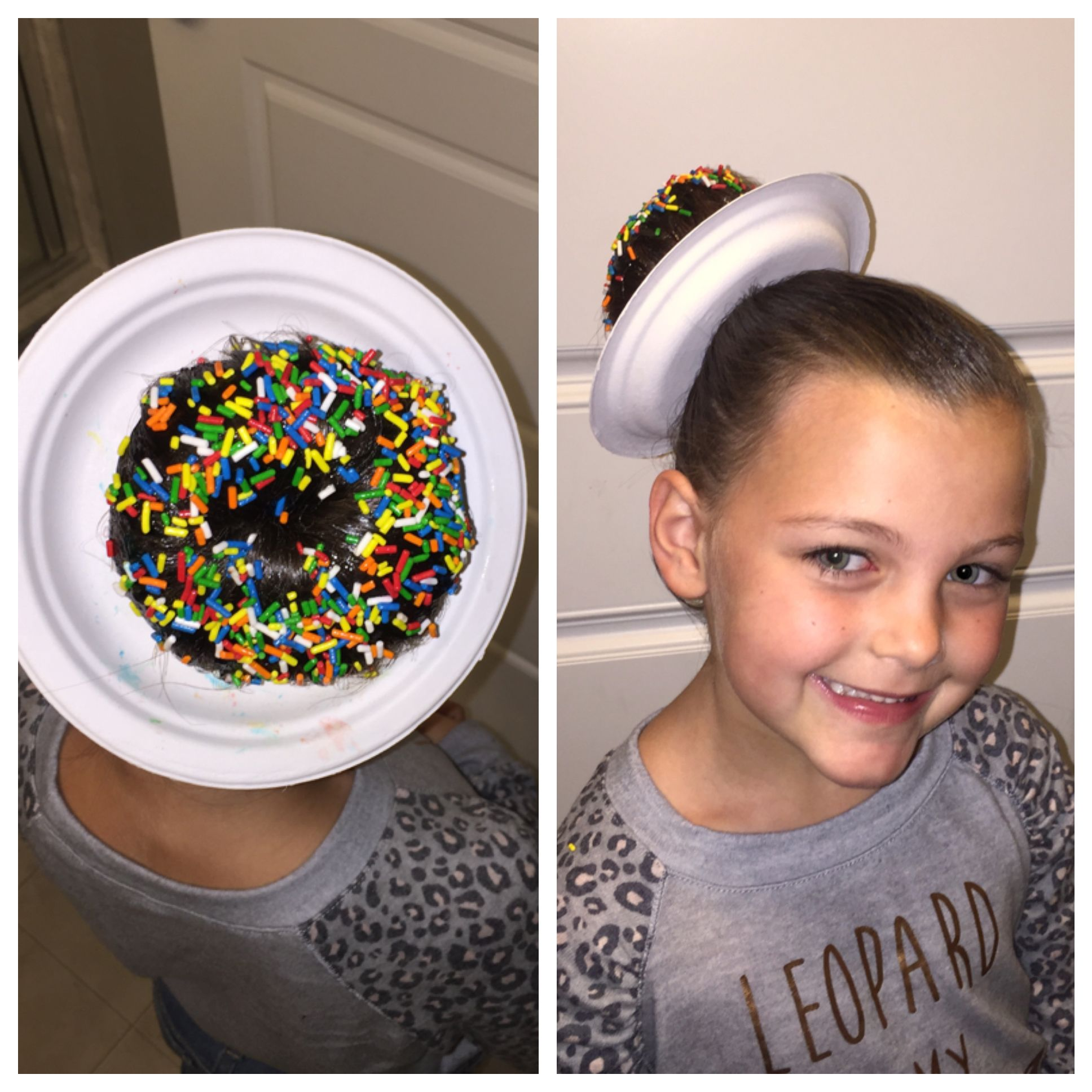 crazy hair day donut hair: cut hole in small plate. make