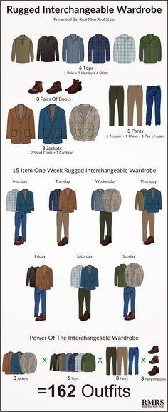 162 tenues robustes à partir de 15 pièces décontractées   Infographie de garde-robe interchangeable   – Daniel board