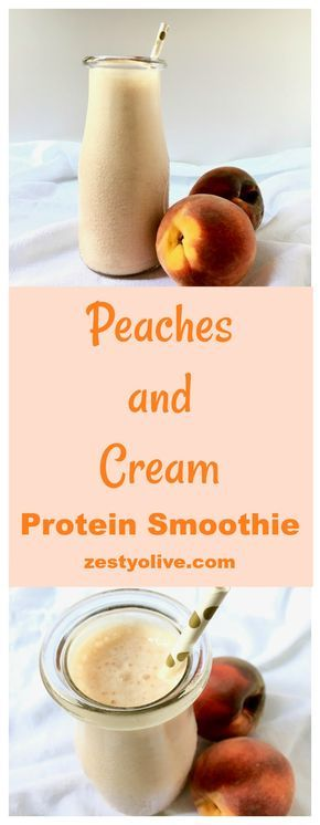 Peaches And Cream Protein Smoothie #proteinshakes
