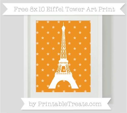 Carrot Orange Star Pattern  8x10 Eiffel Tower Art Print