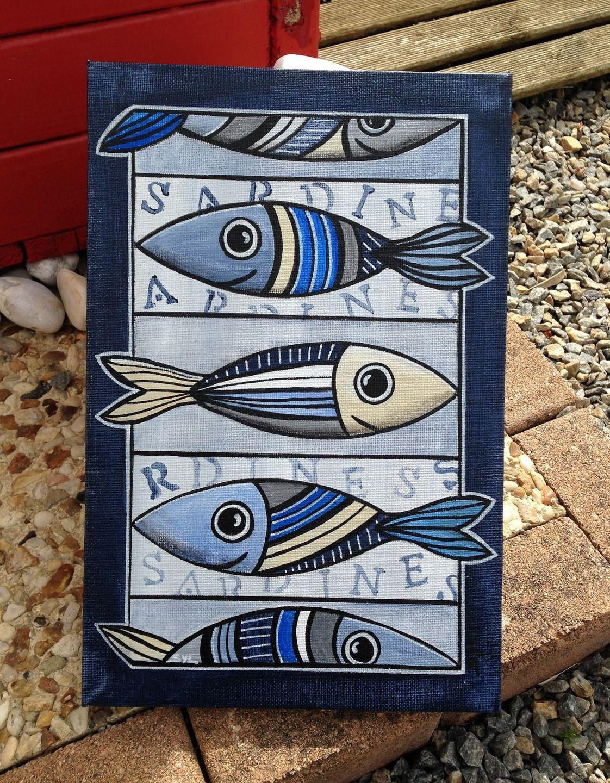 tableaux de sardines l 39 acrylique tableau peinture. Black Bedroom Furniture Sets. Home Design Ideas