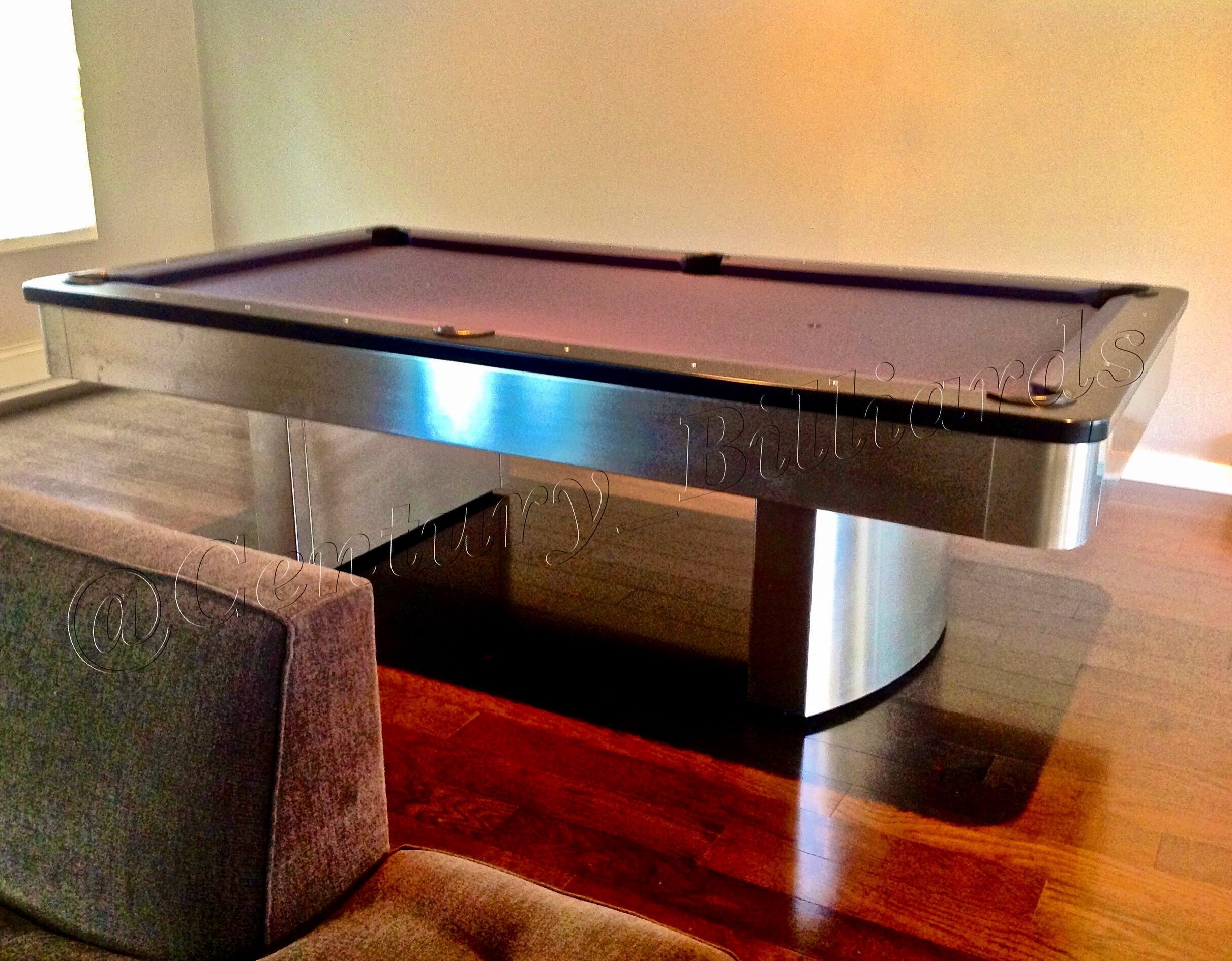 Solid Stainless Steel Pool Table Shown With Black Hardwood Rail Cap - Pool table rail caps
