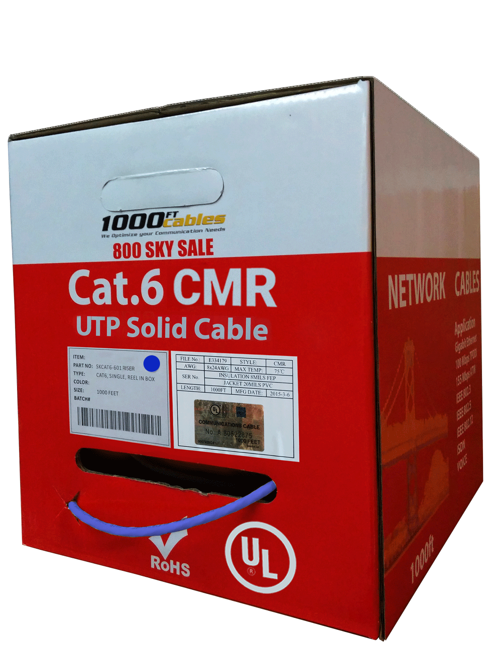 Cat6 1000ft cable utp 23awg 550mhz solid non plenum pvc Ethernet network Blue