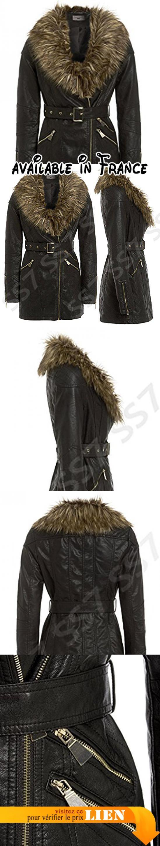 Manteau cuir avec fourrure femme