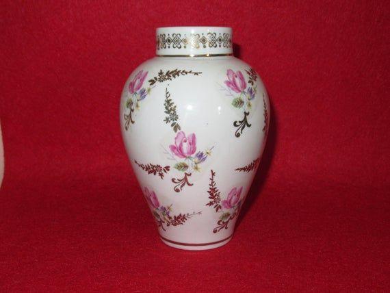 An Original 1970 Porzellan Werk Martinroda German GDR Porcelain Vase. Visit our shop for awesome retro photos, vintage jewelry, sports memorabilia and home decor.Size: 4 3/4