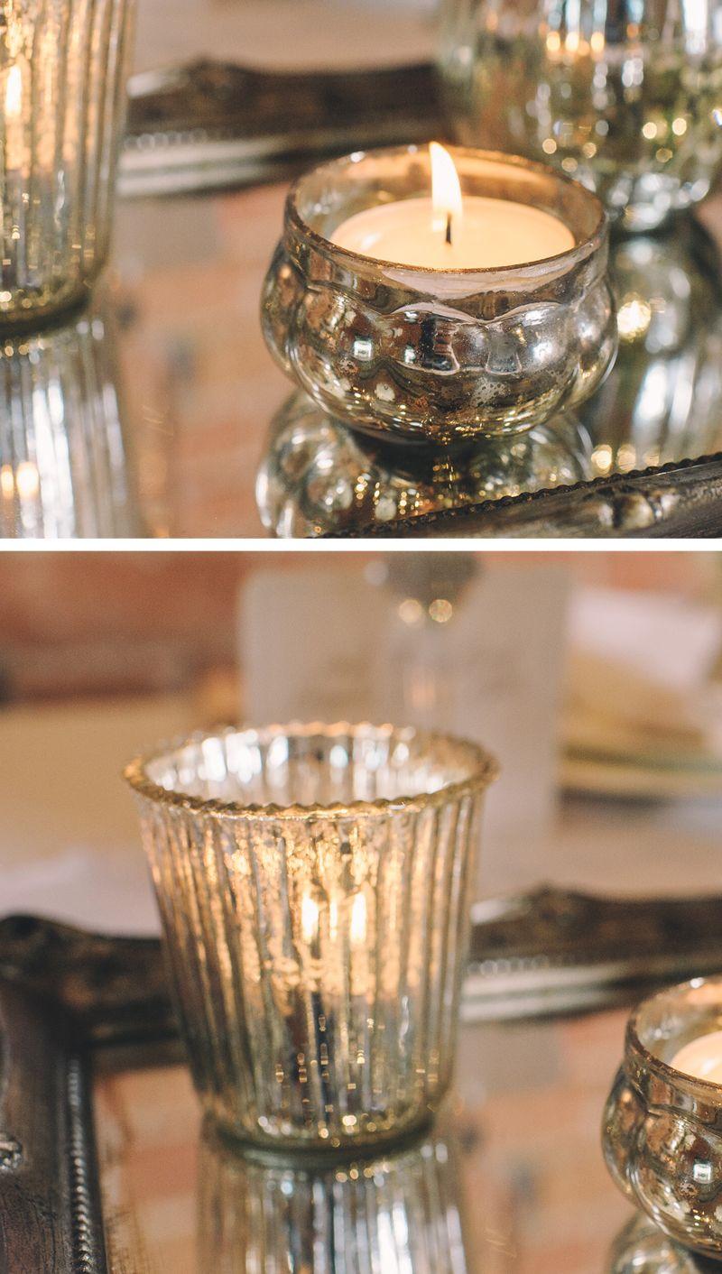 Ribbed Mercury Glass Tea Light Holders Silver | Tea lights ...