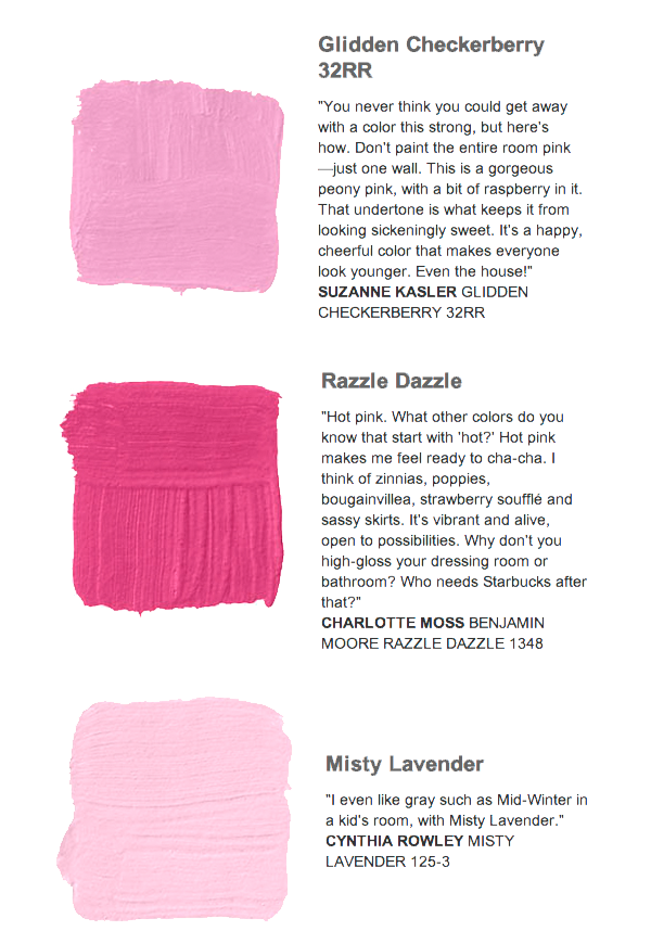 Pink Paint Choices From Famous Designers The Paa Feeling