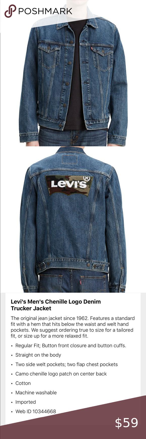 Levi S Mens Trucker Denim Camo Jean Jacket L Camo Jeans Levi Jackets [ 1740 x 580 Pixel ]