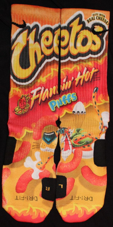 ff7bbe029b1 Cheetos Flaming Hot Parody Custom Nike Elite Socks by LuxuryElites, $35.99