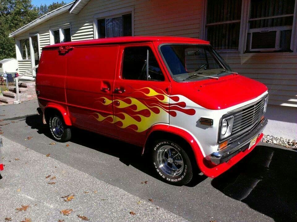 Red chevy van with flames. | Vans | Pinterest | Chevy vans, Vans ...