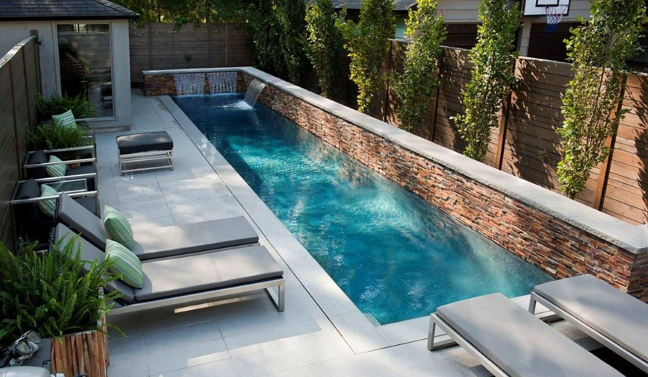 Beautiful Small Pool Designs With Furniture And Waterfall Fountain