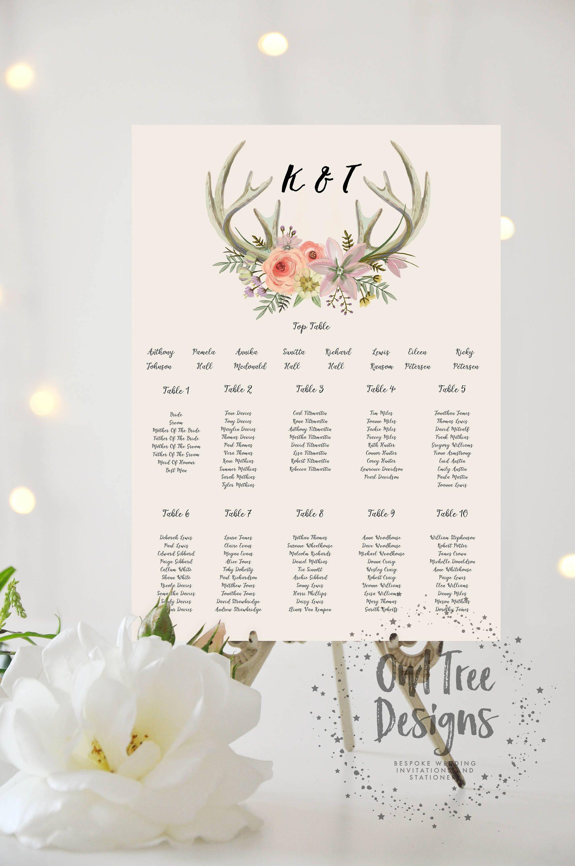 boho printed personalised wedding rustic antler table plan seating